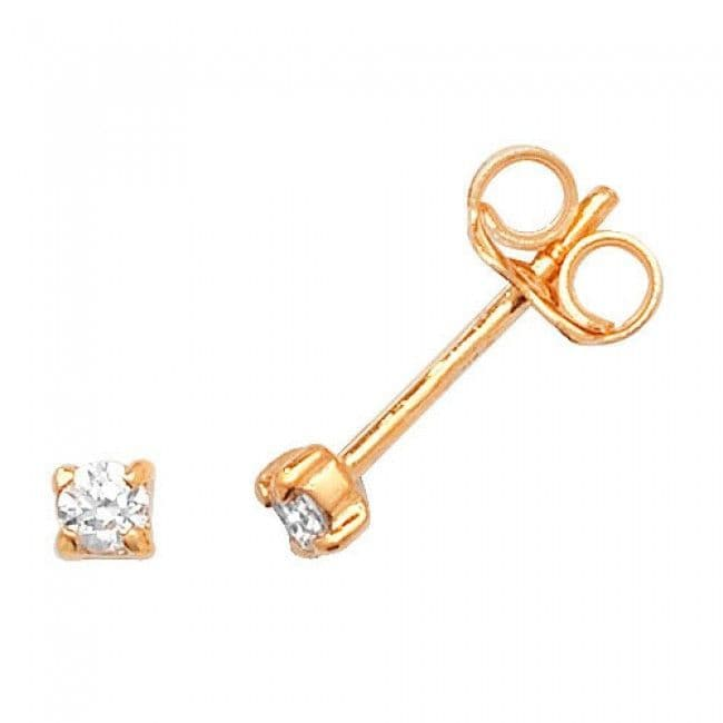 Just Gold Earrings -9Ct Earring 4 claw Yellow Gold Studs Cz, ES329
