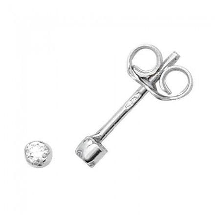 Just Gold Earrings -9Ct Earring Rubover Studs Cz, ES328W