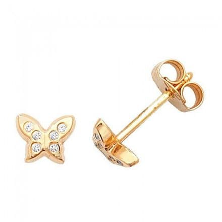 Just Gold Earrings -9Ct Gold Butterfly Baby Studs, ES323