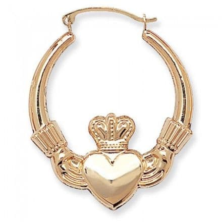 Just Gold Earrings -9Ct Gold Claddagh Earring, ER072