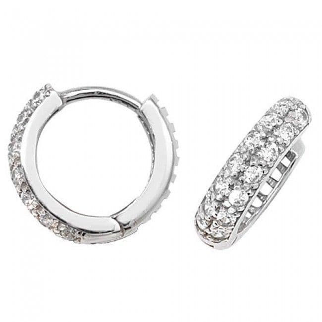 Just Gold Earrings -9Ct White Gold Cz Hoop Earrings W-Gold, ER017W