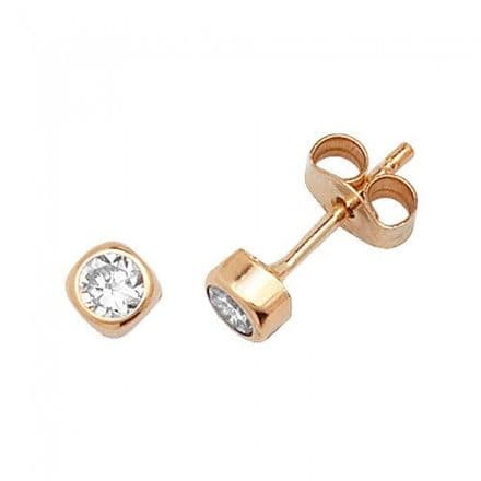 Just Gold Earrings -9Ct Yellow Gold Cz Studs, ES302