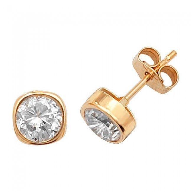 Just Gold Earrings -9Ct Yellow Gold Cz Studs, ES304