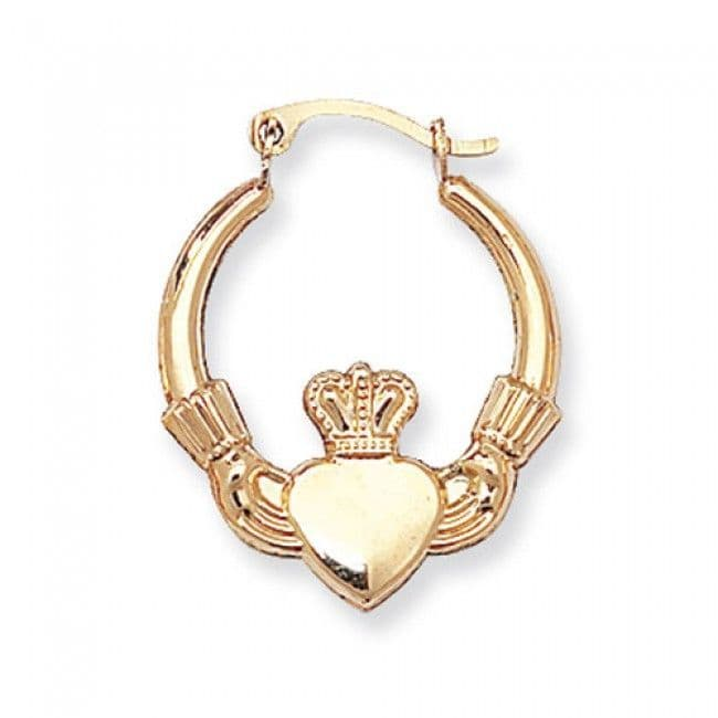 Just Gold Earrings -9Ct Yellow Gold Hinged Claddagh Earring, ER070