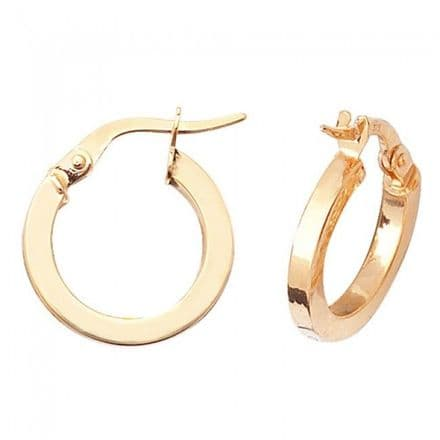 Just Gold Earrings -9Ct Yellow Gold Hop Hinged Earrings, ER868