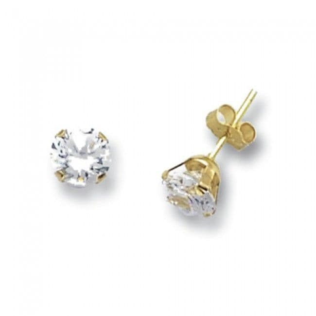Just Gold Earrings -9k Yellow Gold Studs Crystal 6mm, ES213