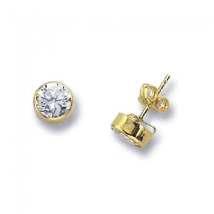 Just Gold Earrings -9k Yellow Gold Studs Crystal Round Stones, ES233S