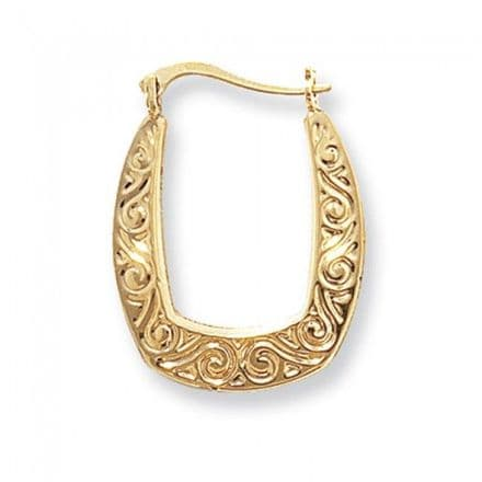 Just Gold Earrings -Creoles Engraved, ER443