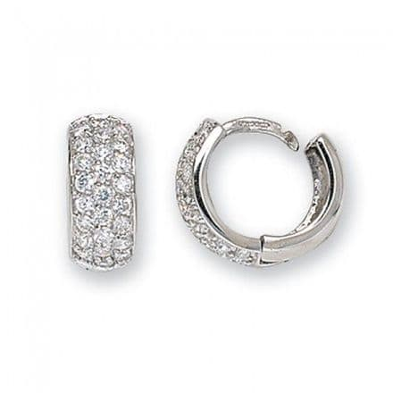 Just Gold Earrings -Cz Set Hoop White Gold, ER024W
