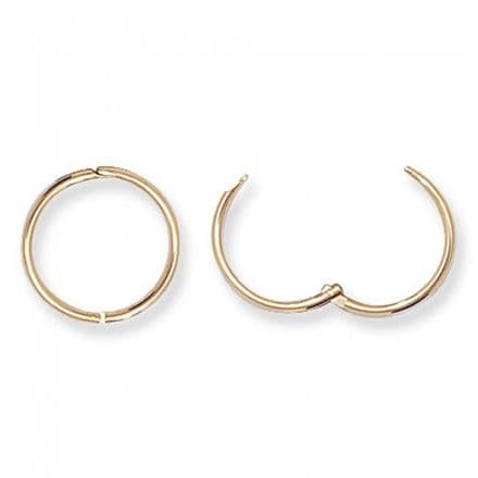 Just Gold Earrings -Hinged Sleepers Yellow Gold 9k Hoops 13Mm, ES144