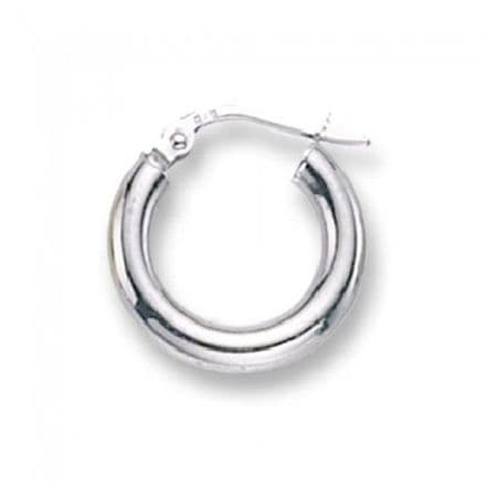 Just Gold Earrings -Hoops Plain 9k White Gold, ER381W