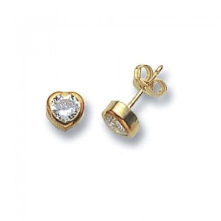 Just Gold Earrings -Studs Cz Heart, ES235S
