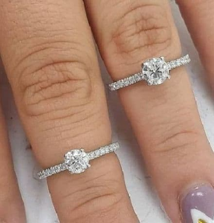 Platinum Solitaire Engagement Ring with pave shoulders Stunning G SI Diamond  With Certificate