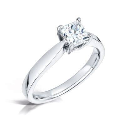 Traditional 4 claw setting diamond engagement ring Tapered solid shoulder D shank Princess cut
