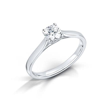 Wedfit 4 claw cross over Diamond engagement ring Heart shaped side detail Round brilliant