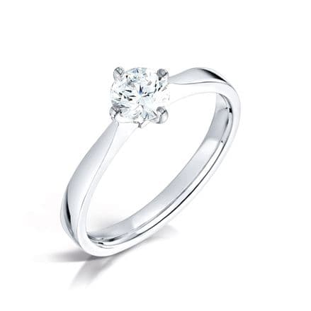 Wedfit 4 claw north south east west diamond engagement ring Tapered solid shoulder Princess cut