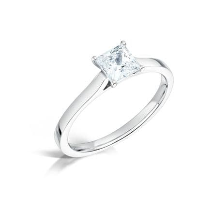 Wedfit 4  claw setting diamond engagement ring. Parallel daylight shoulder Princess cut.