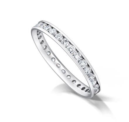 WEDFIT Channel set court eternity/wedding ring, platinum. 2.5mm x 1.7mm. Full coverage