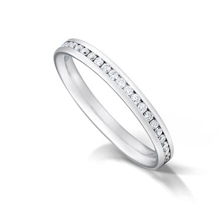 WEDFIT Channel set court eternity/wedding ring, platinum. 2.7mm x 1.7mm. Full coverage