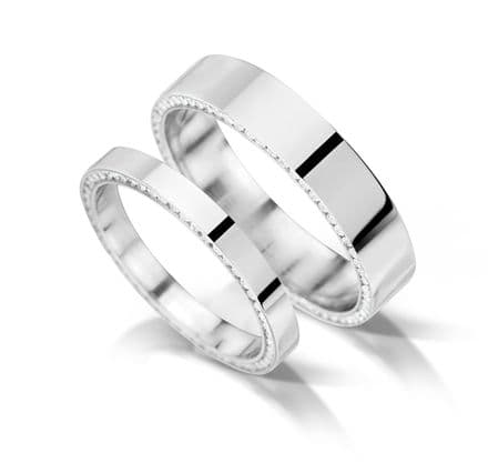 WEDFIT Flat with inset edge channel eternity/wedding ring, platinum. 5mm x 1.7mm.