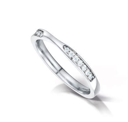 WEDFIT Shaped court eternity/wedding ring with channel set 2 sections. Platinum. 2.6mm x 1.7mm