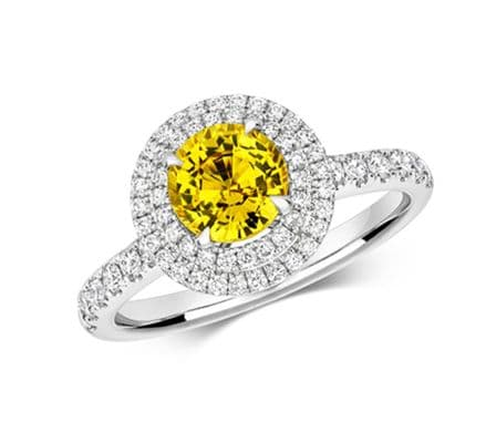 Yellow Sapphire & Diamond Double Halo Pave Ring