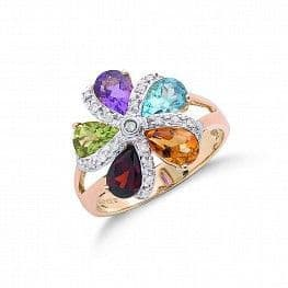 Yellow & White Gold Stunning Diamond & Coloured Stone Cluster Flower Ring RRP £759