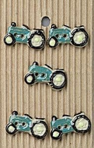 Incomparable BUTTONS  L131 -  green tractors x 5