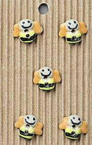 Incomparable BUTTONS  L15 -  smiling bees x 5