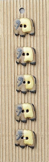 Incomparable BUTTONS L257 - elephants x 5
