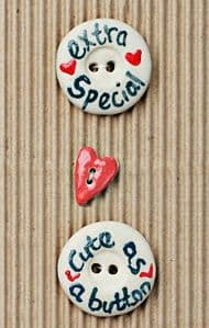Incomparable BUTTONS  L457 - round cute button x 2, heart x 1