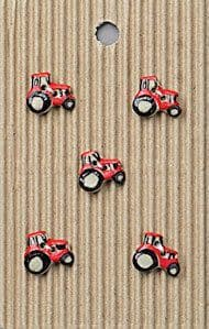 Incomparable BUTTONS  L539 - tiny red tractors x 5 (1)