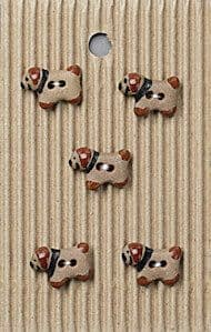 Incomparable BUTTONS  L540 - tiny brown puppy dogs x 5