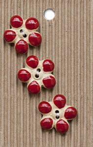 Incomparable BUTTONS L593 - flower buttons red x 3