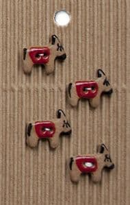 Incomparable BUTTONS  L604 -  little donkeys x 4
