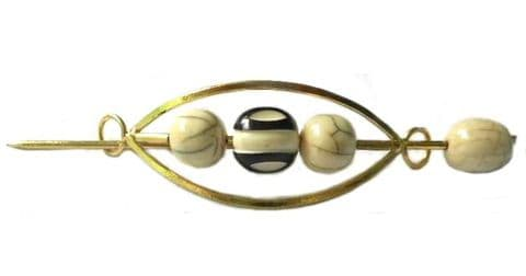Large Indian Shawl Pin - golden  black and cream