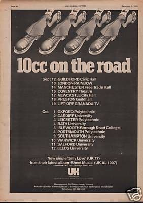 10cc 1974 UK Poster Size Original Vintage music press & tour advert cutting/clipping