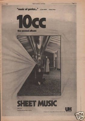 10cc Sheet Music Poster Size Original Vintage music Press cutting/clipping LP advert 1974