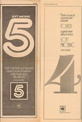 2x SOFT MACHINE 4 & 5 Poster Size vintage music press advert cutting/clipping 1973 1972