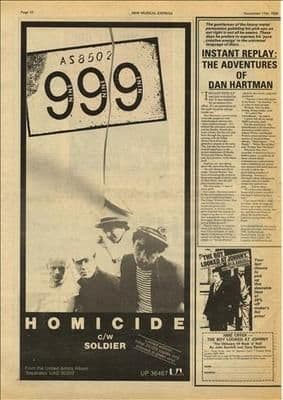 999 NINE NINE NINE Homicide Poster Size press advert cutting/clipping 1978