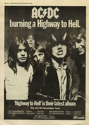 AC/DC Highway to Hell Press Poster Size vintage music press advert cutting/clipping 1979