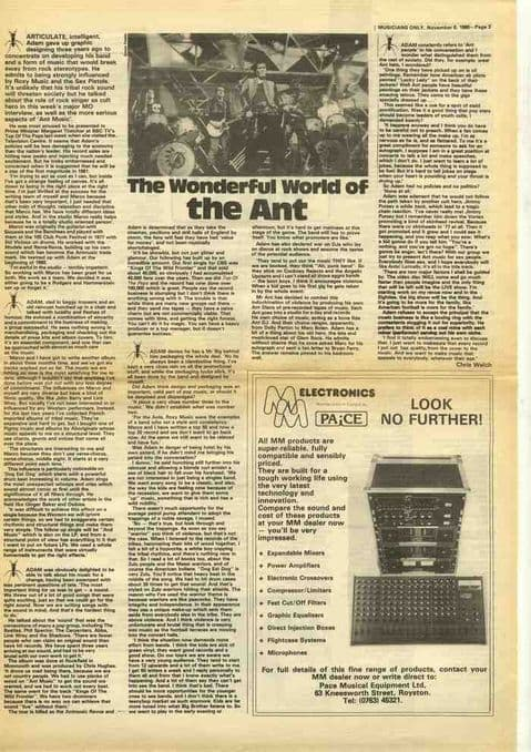 ADAM ANT Wonderful world of the ant press cutting/clipping 1980