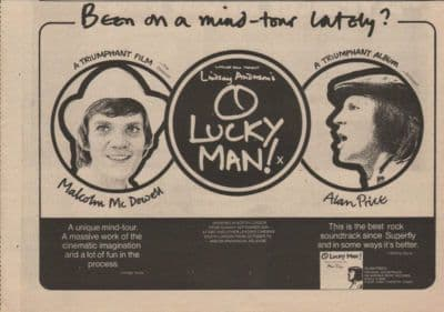 ALAN PRICE O lucky man A4 Size vintage music press advert cutting/clipping 1973