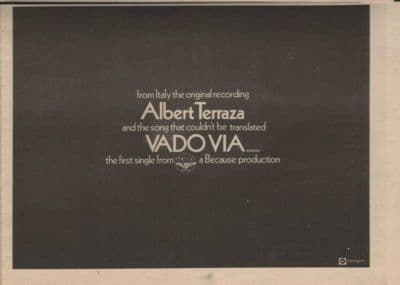ALBERT TERRAZA Vadovia A4 Size vintage music press advert cutting/clipping 1973