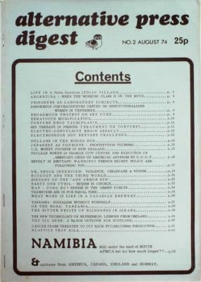 ALTERNATIVE PRESS DIGEST No 2 August 1974 Rare Underground Press Counter culture Published by Magic