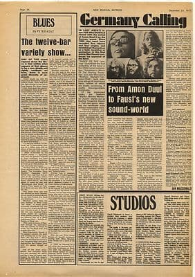 AMON DUUL FAUST Krautrock Article Vintage Music Press Article/cutting/clipping 1972