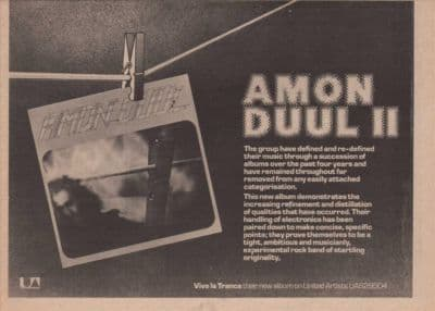 Amon Duul II Poster size A4 Size Vive La Trance LP vintage music press advert cutting/clipping 1973