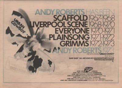 ANDY ROBERTS Urban Cowboy A4 Size LP vintage music press advert cutting/clipping 1973