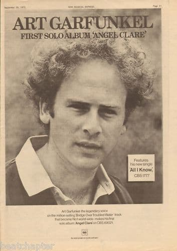 ART GARFUNKEL Poster Size Advert 1973 Music press vintage cutting/clipping