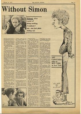 ART GARFUNKEL Without Simon Interview Vintage Music Press Article/cutting/clipping 1974